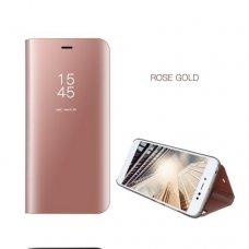 Akcija! Samsung Galaxy A5 2017 atverčiamas dėklas Clear View veidrodiniu-permatomu dangteliu rožinis