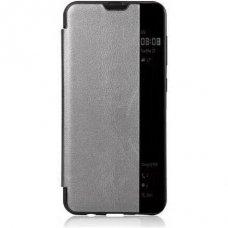 Samsung galaxy A70 atverčiamas dėklas CLEAR WALLET pilkas