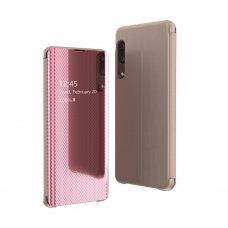 Samsung galaxy a50 atverčiamas dėklas Flip View veidrodiniu-permatomu dangteliu rožinis