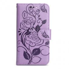 Iphone 11 ATVERČIAMAS DĖKLAS SMART STAMP Gėlės SU GUMINIU RĖMELIU violetinė