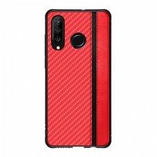 Samsung galaxy a40 dėklas Mulsae Carbon plastikas raudonas