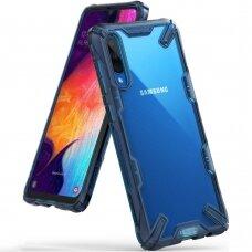 Akcija ! Samsung galaxy A70 dėklas Ringke Fusion X PC plastikas+TPU mėlynas