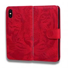 iphone x / xs ATVERČIAMAS DĖKLAS SMART STAMP  SU GUMINIU RĖMELIU raudonas