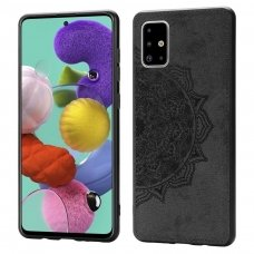 Samsung galaxy a51 dėklas Mandala TPU+ medžiaginis pluoštas juodas