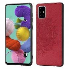 Samsung galaxy a51 dėklas Mandala TPU+ medžiaginis pluoštas raudonas