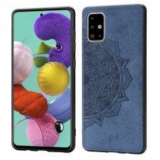 Samsung galaxy a51 dėklas Mandala TPU+ medžiaginis pluoštas mėlynas