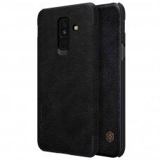 Akcija! Samsung galaxy A6 Plus 2018 atverčiamas dėklas nillkin QIN tikros natūralios odos juodas