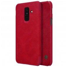 Samsung galaxy A6 PLUS 2018 atverčiamas dėklas nillkin QIN tikros natūralios odos raudonas