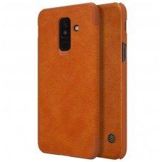 Samsung galaxy A6 PLUS 2018 atverčiamas dėklas nillkin QIN tikros natūralios odos rudas