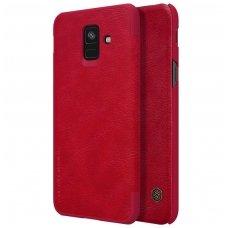 Samsung galaxy A6 2018 atverčiamas dėklas nillkin QIN tikros natūralios odos raudonas