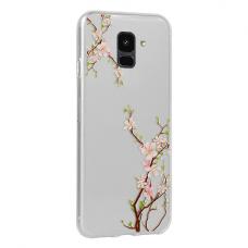 Samsung Galaxy a6 2018 dėklas Flower Cherry silkoninis permatomas