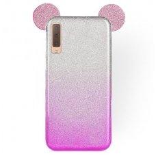 samsung galaxy a7 2018 dėklas Bling Mouse silikonas sidabrinis-rožinis