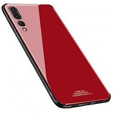 Samsung Galaxy A7 2018 dėklas GLASS CASE Raudonas