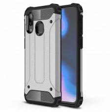 Samsung galaxy a40 dėklas Hybrid Armor  TPU+PC plastikas sidabrinis