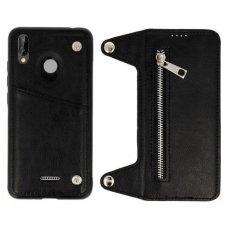 Huawei P20 lite dviejų dalių atverčiamas dėklas piniginė BUSINESS ZIP 2in1 Odinis juodas