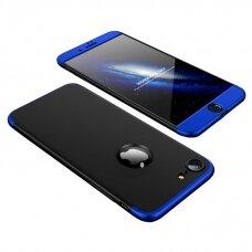 Akcija! IPHONE 7/ Iphone 8 HURTEL dėklas dvipusis 360 plastikas juodas-mėlynas