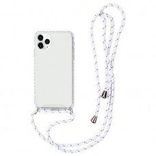 Akcija! iphone 12 mini dėklas su virvute Strap skaidrus