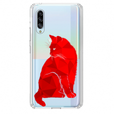 "Samsung Galaxy A50 TPU dėklas unikaliu dizainu 1.0 mm ""u-case Airskin Red Cat design"""