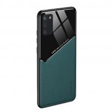 Samsung Galaxy A72 dėklas su įmontuota metaline plokštele LENS case žalias
