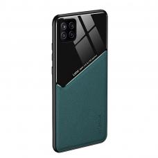 Samsung Galaxy A22 5G dėklas su įmontuota metaline plokštele LENS case žalias