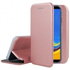 Samsung galaxy s7 edge atverčiamas dėklas Book elegance odinis rožinis