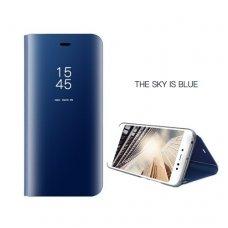 Samsung Galaxy A8 2018 atverčiamas dėklas Clear View veidrodiniu-permatomu dangteliu mėlynas