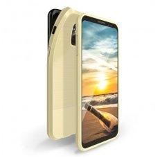 Samsung galaxy a8 2018 dėklas Dux Ducis MOJO silikonas aukso spalvos su metaline plokštele
