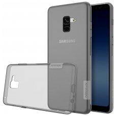 Samsung galaxy A8 2018 dėklas Nillkin Nature permatomas pilkas 0,6 mm TPU