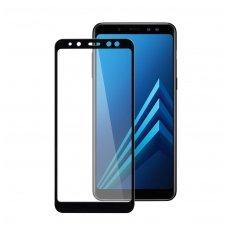 akcija! Samsung galaxy A8 2018 grūdinto stiklo ekrano apsauga  lenktas juodais kraštais