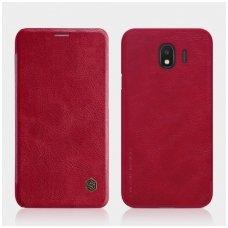 Samsung galaxy J4 2018 atverčiamas dėklas nillkin QIN tikros natūralios odos raudonas