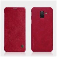 Samsung galaxy J6  2018 atverčiamas dėklas nillkin QIN tikros natūralios odos raudonas
