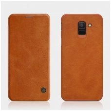 Samsung galaxy J6 2018 atverčiamas dėklas nillkin QIN tikros natūralios odos rudas