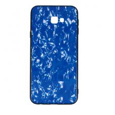 samsung galaxy j4 plus  2018 dėklas marble glass grūdintas stiklas+tpu mėlynas