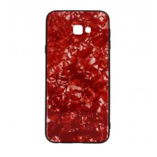 samsung galaxy j4 plus  2018 dėklas marble glass grūdintas stiklas+tpu raudonas