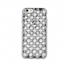 samsung galaxy j5 2015 dėklas 3d flower silikonas sidabrinis