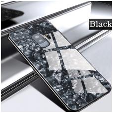 samsung galaxy j6 plus  2018 dėklas marble glass grūdintas stiklas+tpu juodas