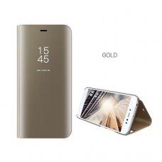Akcija! Samsung Galaxy J7 2017 J730 atverčiamas dėklas Clear View veidrodiniu-permatomu dangteliu auksinis