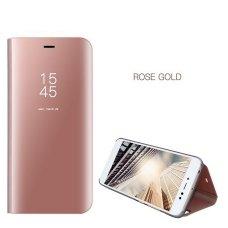 Samsung Galaxy J7 2017 J730 atverčiamas dėklas Clear View veidrodiniu-permatomu dangteliu rožinis
