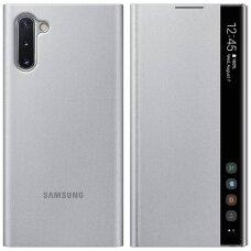 Akcija! Samsung Galaxy Note 10 originalus išmanus atverčiamas dėklas Clear View Standing Cover Sidabrinis