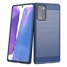 Samsung galaxy NOTE 20 dėklas carbon lux silikonas mėlynas