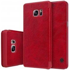 Samsung galaxy  NOTE 7 atverčiamas dėklas nillkin QIN tikros natūralios odos raudonas
