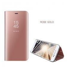Samsung Galaxy NOTE 8 atverčiamas dėklas Clear View veidrodiniu-permatomu dangteliu rožinis