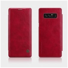 Samsung galaxy  NOTE 8 Atverčiamas dėklas Nillkin QIN tikra natūrali oda raudonas