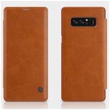 Samsung galaxy  NOTE 8 Atverčiamas dėklas Nillkin QIN tikra natūrali oda rudas