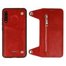 Huawei P20 PRO dviejų dalių atverčiamas dėklas piniginė BUSINESS ZIP 2in1 Odinis raudonas