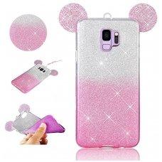 Samsung galaxy s9 dėklas Bling Mouse silikonas sidabrinis-rožinis