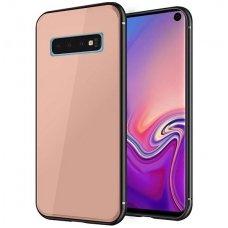 """Samsung Galaxy s10 dėklas """"GLASS CASE""""  grūdinto stiklo nugarėlė rožinis"""