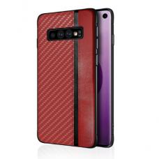 Samsung galaxy s10 plus dėklas Mulsae Carbon plastikas raudonas