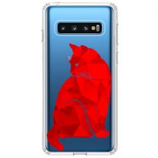 """Samsung Galaxy S10 TPU dėklas unikaliu dizainu 1.0 mm """"u-case Airskin Red Cat design"""""""