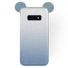 Akcija! Samsung galaxy s10e dėklas Bling Mouse silikonas sidabrinis-mėlynas